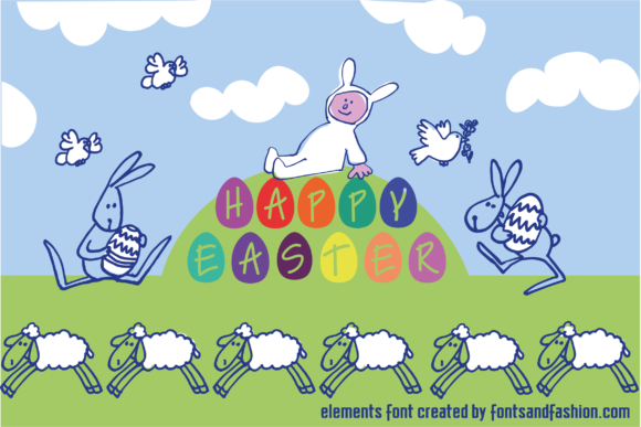 Print on Demand: Happy Easter Dingbats Font By Fontsandfashion - Image 5