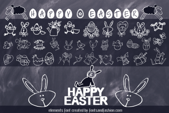 Print on Demand: Happy Easter Dingbats Font By Fontsandfashion - Image 6