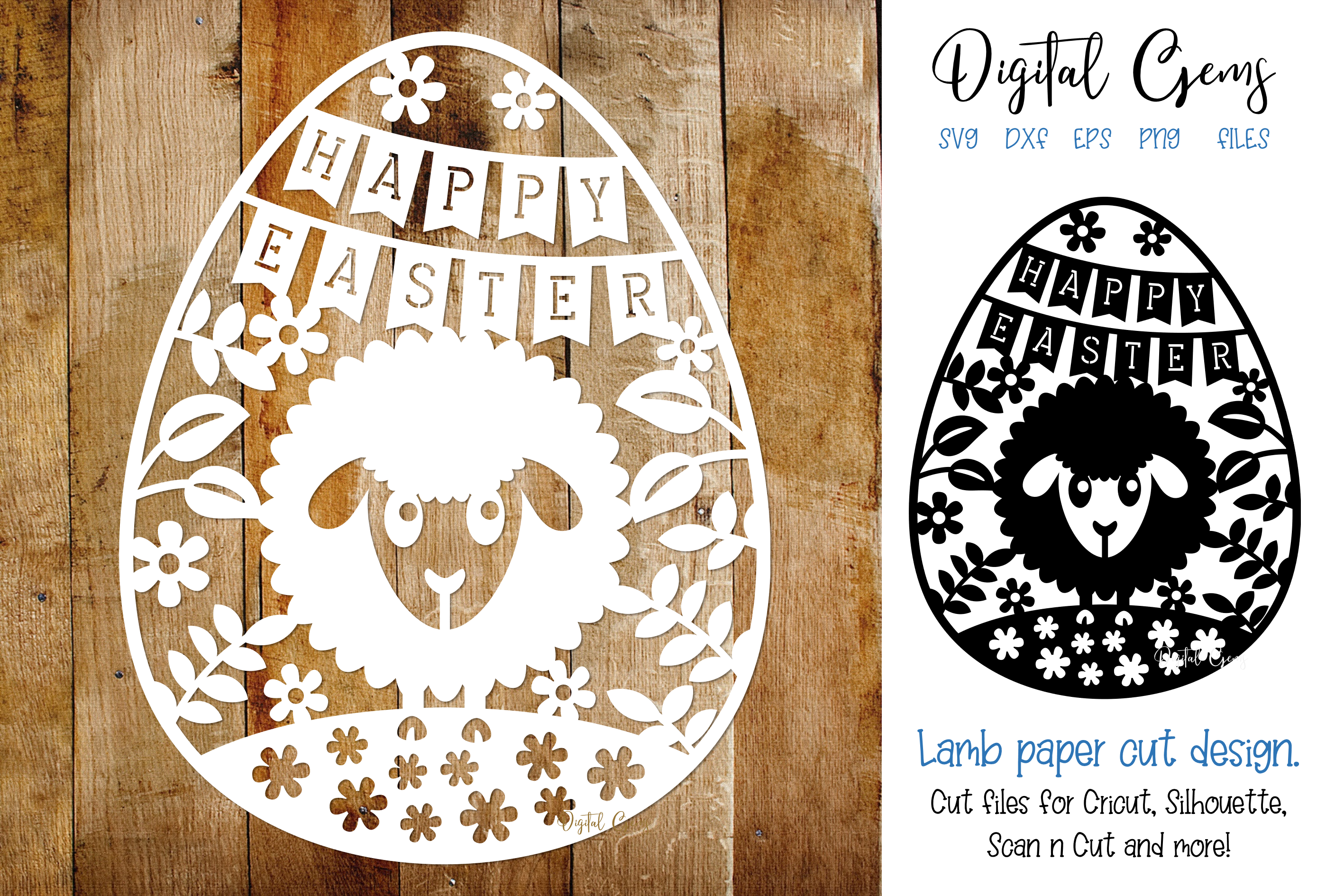 Download Free Happy Easter Paper Cut Design Graphic By Digital Gems Creative SVG Cut Files