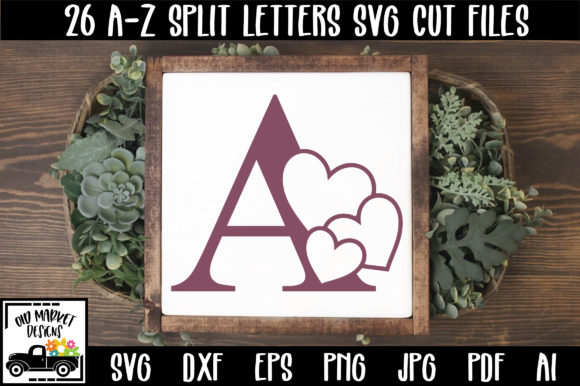 Download Free Heart Alphabet Letter A Z Cut Files Graphic By Oldmarketdesigns for Cricut Explore, Silhouette and other cutting machines.