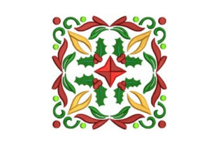Holly Quilt Block Christmas Embroidery Design By designsbymira
