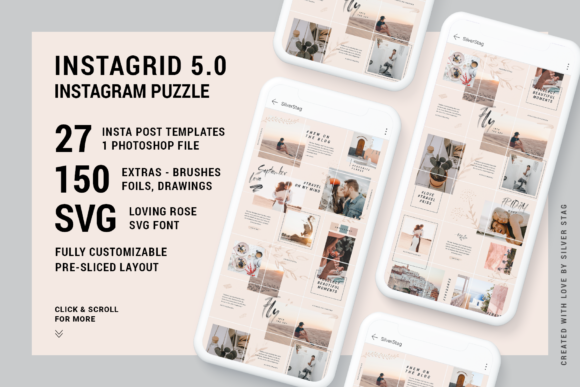 Print on Demand: InstaGrid 5 - Instagram Puzzle Template Graphic Websites By SilverStag