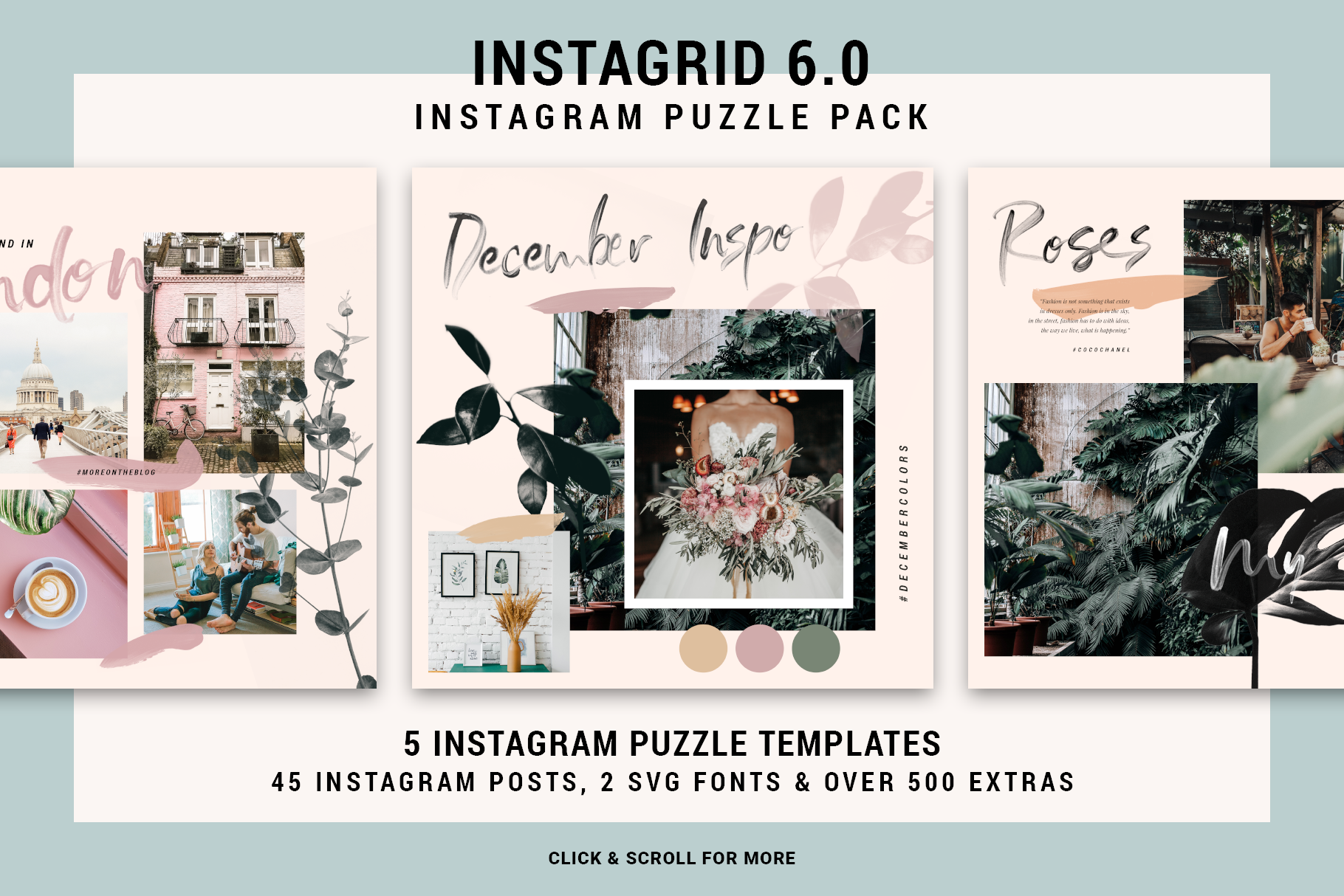 Download Free Instagrid 6 Instagram Puzzle Pack Graphic By Silverstag for Cricut Explore, Silhouette and other cutting machines.