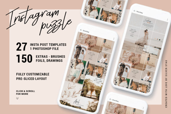 Print on Demand: InstaGrid 7 - Instagram Puzzle Template Graphic Websites By SilverStag
