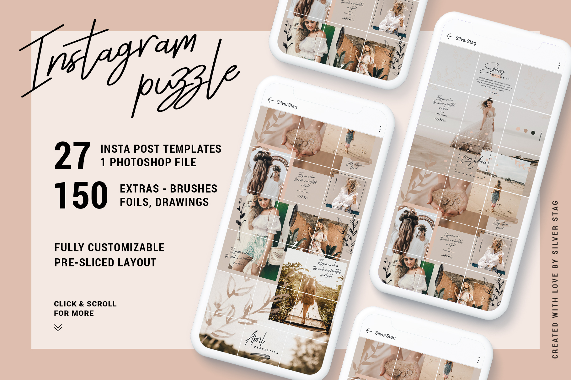 Download Free Instagrid 7 Instagram Puzzle Template Graphic By Silverstag for Cricut Explore, Silhouette and other cutting machines.