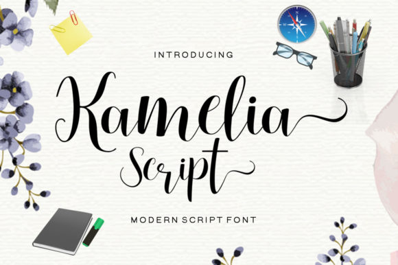 Print on Demand: Kamelia Script Script & Handwritten Font By Shape Studio