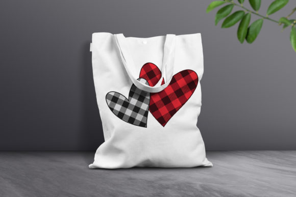 Print on Demand: Buffalo Plaid Hearts Graphic Crafts By FounDream