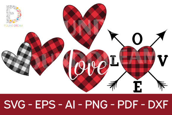 Download Free Buffalo Plaid Hearts Graphic By Foundream Creative Fabrica for Cricut Explore, Silhouette and other cutting machines.