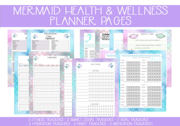 Print on Demand: Mermaid Health & Wellness Pages Graphic Print Templates By capeairforce