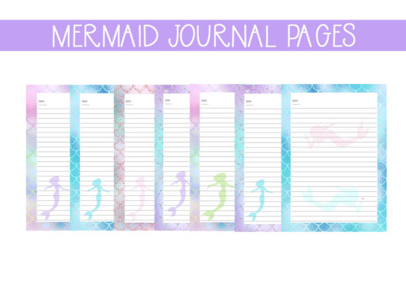Print on Demand: Mermaid Journal Pages Graphic Print Templates By CapeAirForce