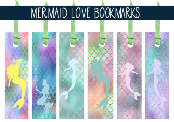 Download Free Mermaid Love Bookmarks Graphic By Capeairforce Creative Fabrica for Cricut Explore, Silhouette and other cutting machines.