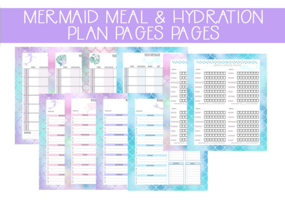 Print on Demand: Mermaid Meal & Hydration Planners Set Graphic Print Templates By capeairforce