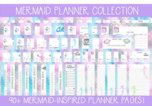 Print on Demand: Mermaid Planner Collection Graphic Print Templates By capeairforce - Image 1
