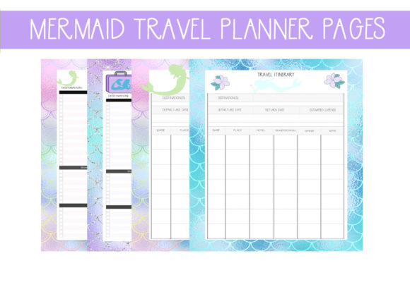 Print on Demand: Mermaid Travel Planner Pages Gráfico Plantillas para Impresión Por CapeAirForce