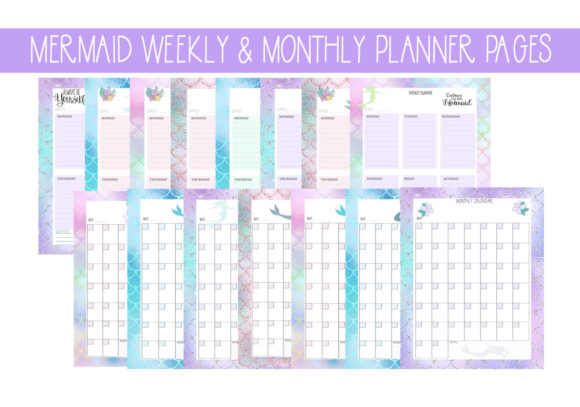 Print on Demand: Mermaid Weekly & Monthly Planner Pages Gráfico Plantillas para Impresión Por CapeAirForce