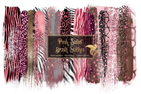Pink Safari Brush Strokes Clipart Grafik Illustrationen von Digital Curio