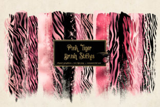 Print on Demand: Pink Tiger Brush Strokes Clipart Graphic Illustrations By Digital Curio