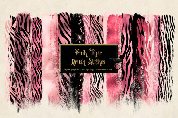 Pink Tiger Brush Strokes Clipart Grafik Illustrationen von Digital Curio