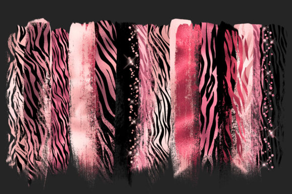 Print on Demand: Pink Tiger Brush Strokes Clipart Graphic Illustrations By Digital Curio - Image 2