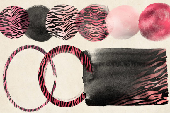Print on Demand: Pink Tiger Brush Strokes Clipart Graphic Illustrations By Digital Curio - Image 3