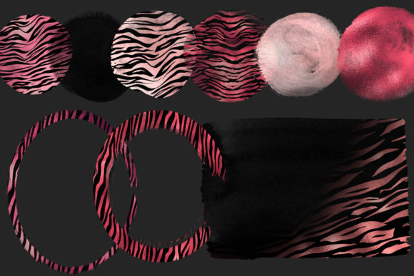 Print on Demand: Pink Tiger Brush Strokes Clipart Graphic Illustrations By Digital Curio - Image 4