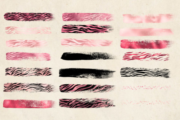 Print on Demand: Pink Tiger Brush Strokes Clipart Graphic Illustrations By Digital Curio - Image 5