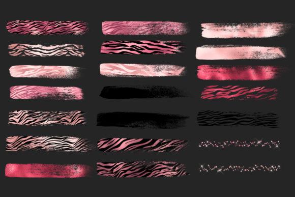 Print on Demand: Pink Tiger Brush Strokes Clipart Graphic Illustrations By Digital Curio - Image 6