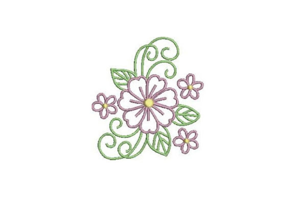 Purple Outline Flower Outline Flowers Embroidery Design By Embroidery Designs - Image 1