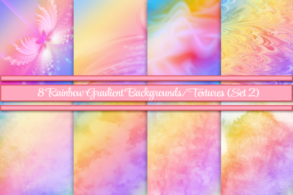Rainbow Gradient Backgrounds/Textures 2 Graphic Backgrounds By AM Digital Designs