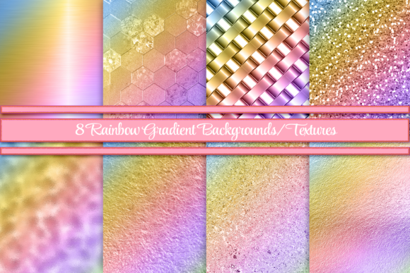 Print on Demand: Rainbow Gradient Backgrounds/Textures Graphic Print Templates By AM Digital Designs