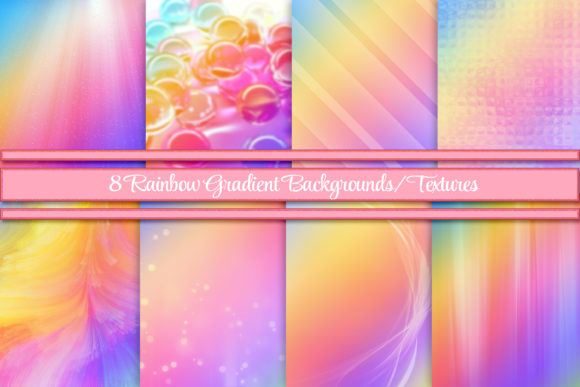 Print on Demand: Rainbow Gradient Backgrounds/Textures Graphic Backgrounds By Angela Wheeland