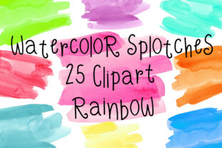 Rainbow Watercolor Splotches Clipart Graphic Textures By PinkPearly
