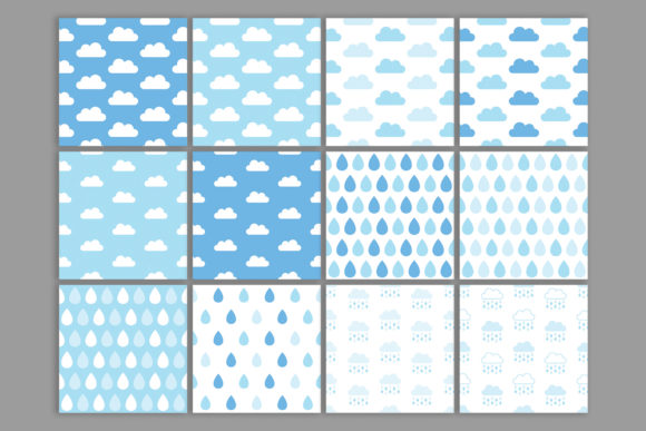 Rainy Day Blues Seamless Patterns Graphic Download