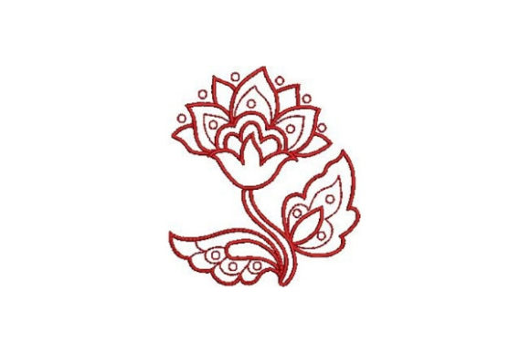 Redwork Flower Design Outline Flowers Embroidery Design By Embroidery Designs - Image 1
