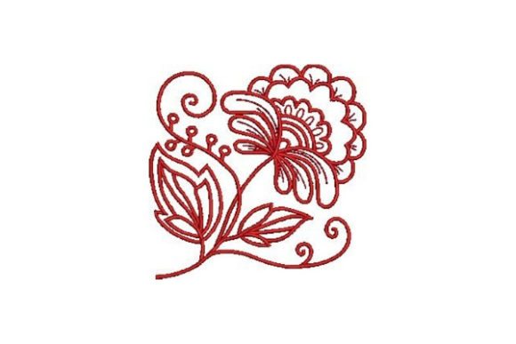 Redwork Flower Outline Flowers Embroidery Design By Embroidery Designs - Image 1