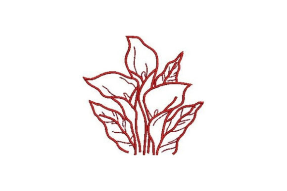 Redwork Flowers Lilies Outline Flowers Embroidery Design By Embroidery Designs