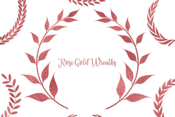 Rose Gold Wreaths Clipart,Rosegold Frame Graphic Objects By BonaDesigns