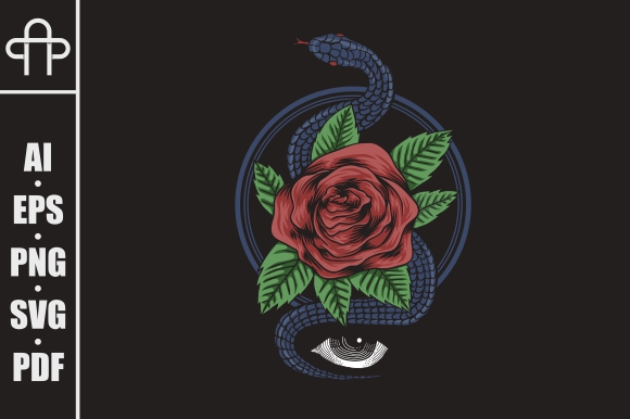 Download Free Rose Snake Vector Illustration Grafico Por Andypp Creative Fabrica for Cricut Explore, Silhouette and other cutting machines.