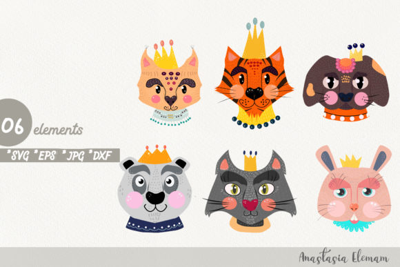 Download Free Royal Animals Clipart Vector Graphic By Anes Art Creative Fabrica for Cricut Explore, Silhouette and other cutting machines.