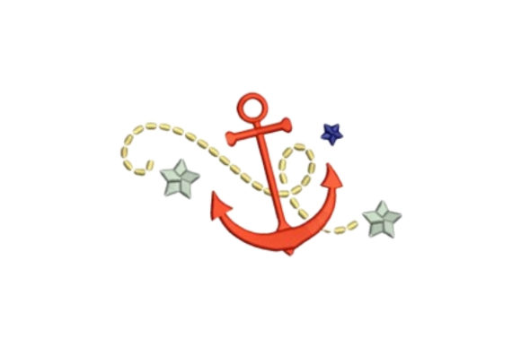 Ship Anchor Beach & Nautical Embroidery Design By designsbymira