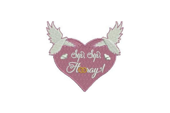 Sip Sip Hooray Valentine's Day Embroidery Design By Embroidery Designs