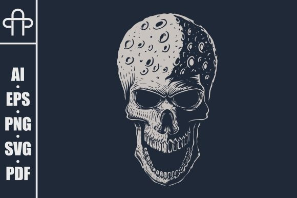 Skull Moon Head Vector Illustration Graphic By Andypp Creative
