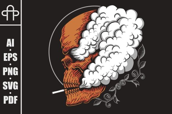 Download Free Skull Smoke Vector Illustration Graphic By Andypp Creative Fabrica for Cricut Explore, Silhouette and other cutting machines.