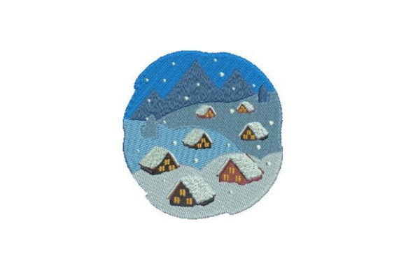 Snowy Village Winter Embroidery Design By Embroidery Designs