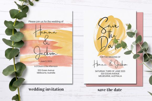 Download Free Spring Watercolor Wedding Stationery Set Graphic By Jennifer for Cricut Explore, Silhouette and other cutting machines.