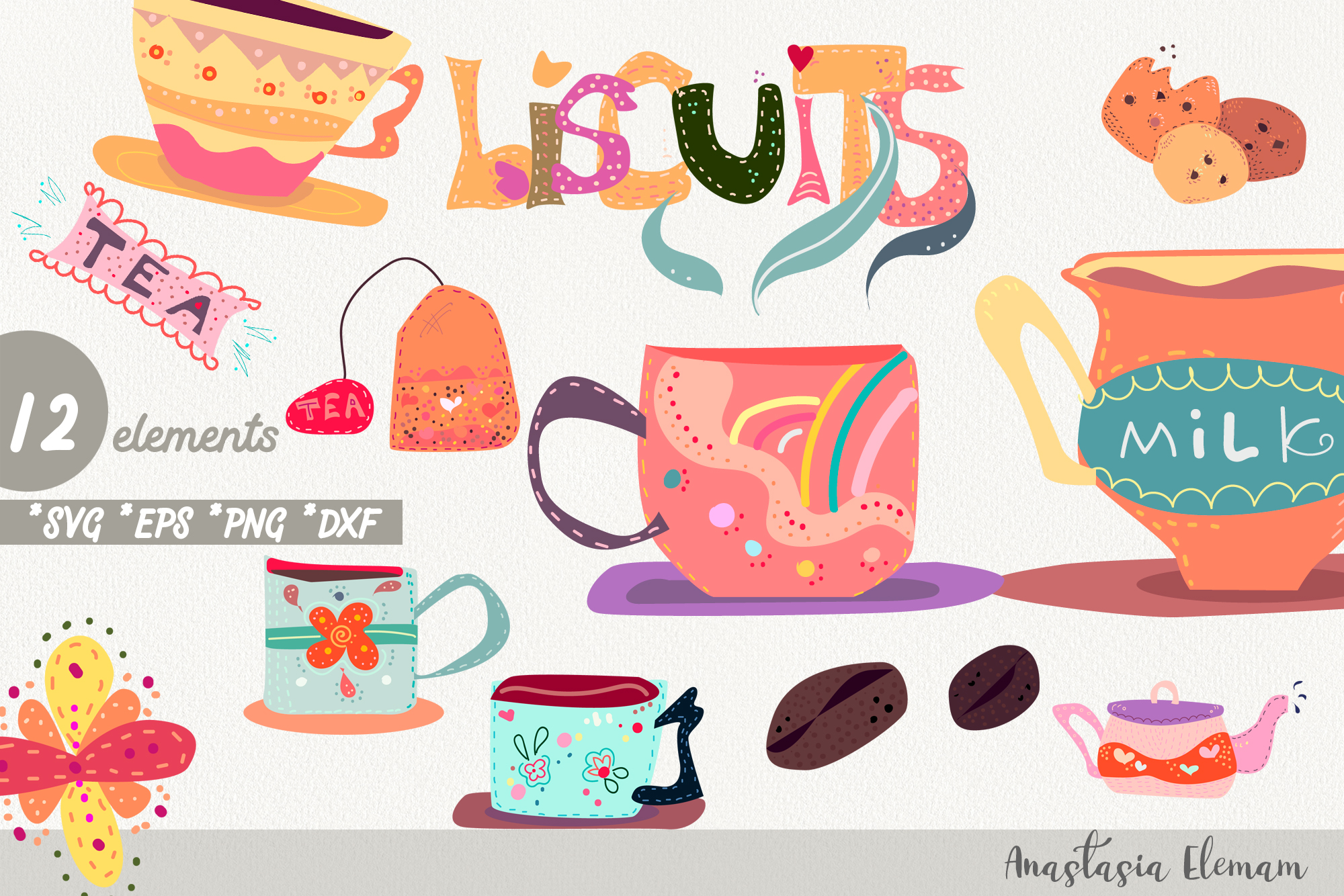 Download Free Tea Time Clipart Graphic By Anes Art Creative Fabrica for Cricut Explore, Silhouette and other cutting machines.