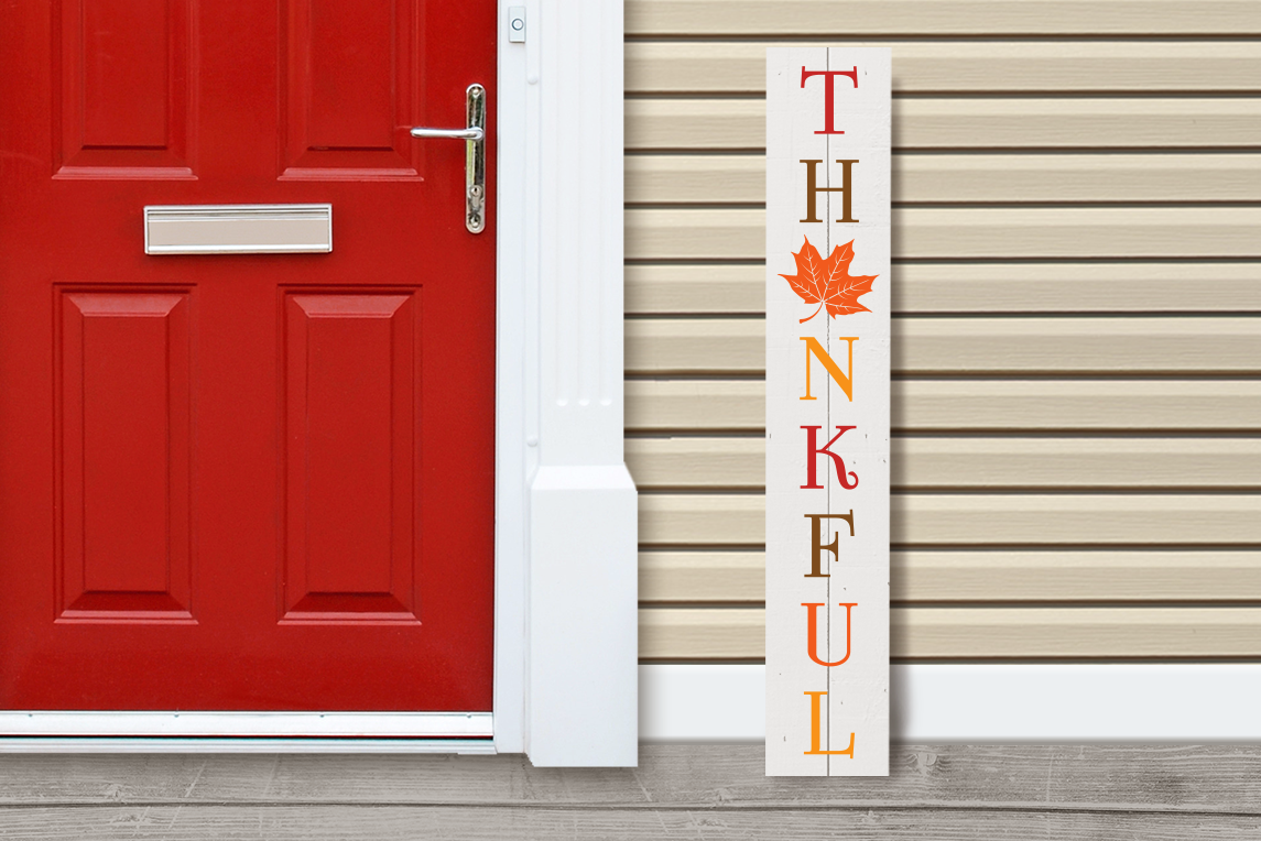 Thankful Thanksgiving Porch Sign Graphic By Risarocksit