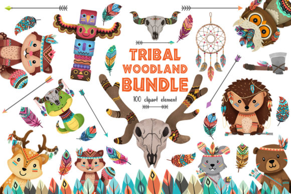Print on Demand: Tribal Woodland Animal Clipart Bundle Gráfico Ilustraciones Por accaliadigital