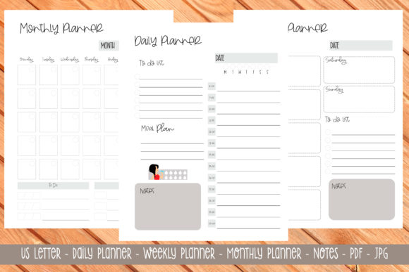 Print on Demand: Us Letter Printable Planner 1 Graphic Print Templates By Printable Planners