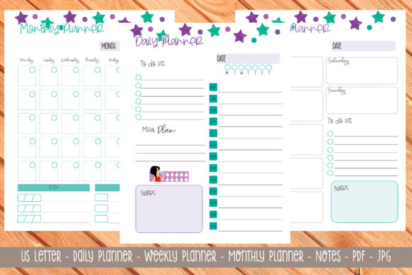 Print on Demand: Us Letter Printable Planner 10 Graphic Print Templates By Printable Planners